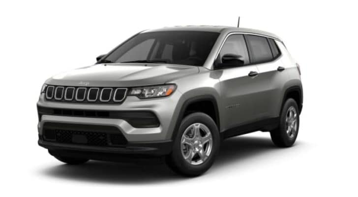 A grey 2022 Jeep Compass is shown angled left.