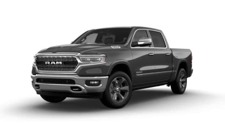 A grey 2022 Ram 1500 is shown angled left.