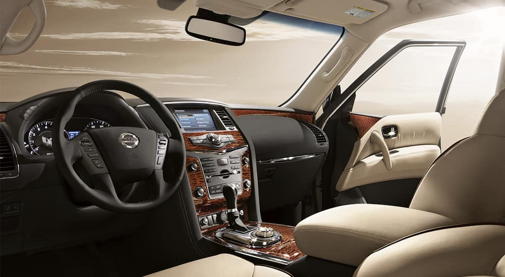 White Leather Interior Of A 2018 Nissan Armada In CA