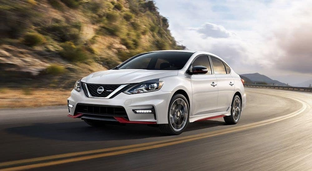 A sporty white 2019 Nissan Sentra