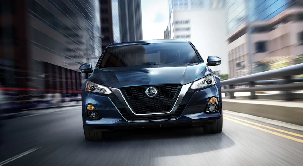 A blue 2019 Nissan Altima from a local Orange County Nissan Dealership