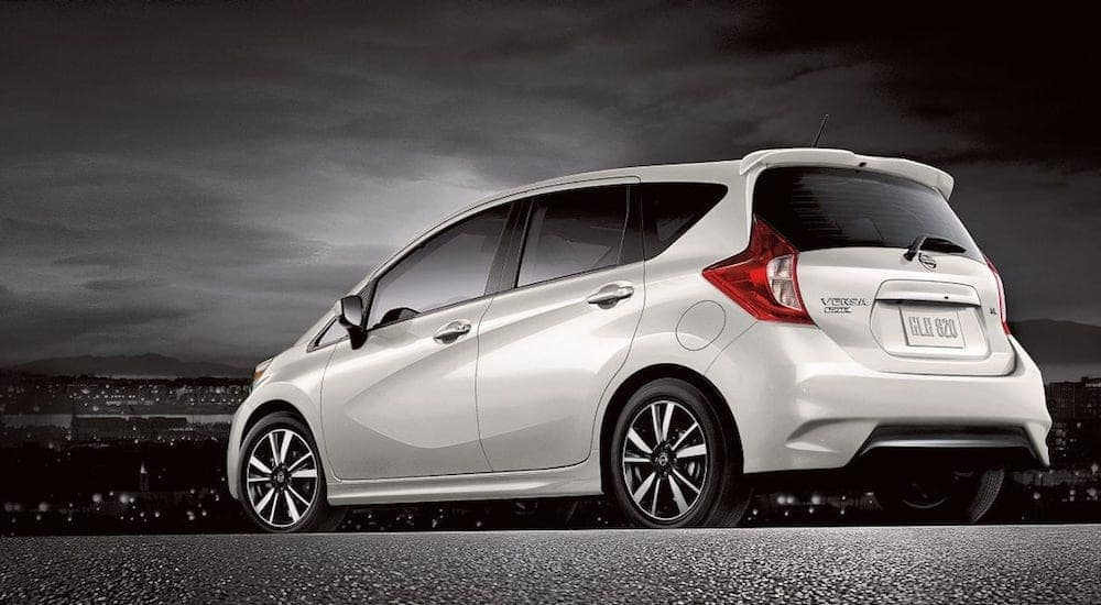 A white 2019 Nissan Versa Note from a local Nisan Dealership
