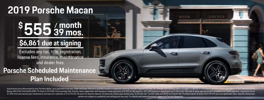 2019 Porsche Macan Lease - $555 per Month for 39 Months - PSMP Included