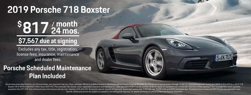 2019 Porsche 718 Boxster Lease - $817 per Month for 24 Months - PSMP Included