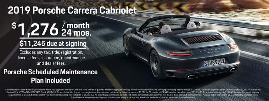 2019 911 Carrera Cabriolet Lease - $1,276 per Month for 24 Months - PSMP Included