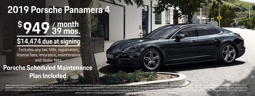 2019 Porsche Panamera 4 Lease - $949 per Month for 39 Months - PSMP Included