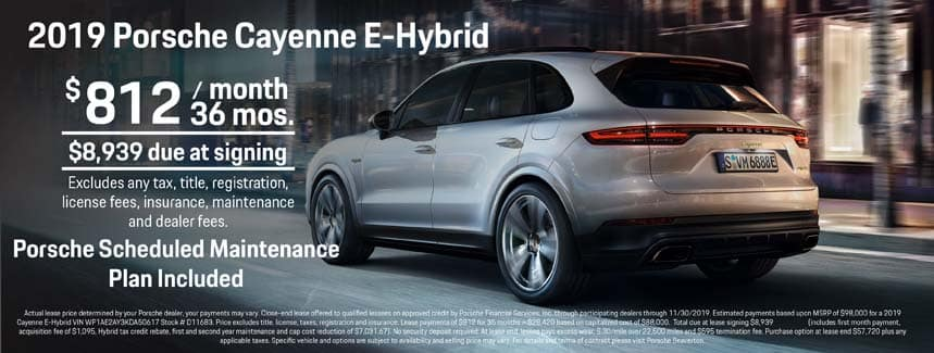 2019 Porsche Cayenne E-Hybrid Lease - $812 per Month for 36 Months - PSMP Included