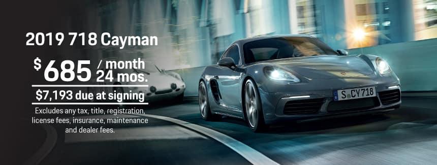 2019 Porsche 718 Cayman Lease - $685 per Month for 24 Months