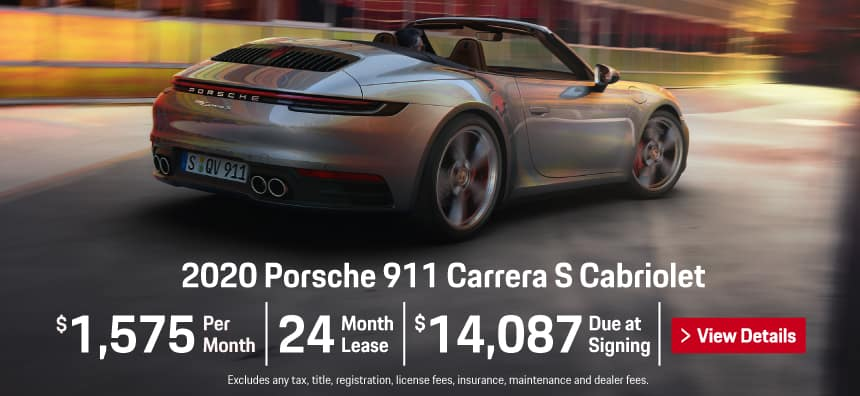 2020 911 Carrera Cabriolet S Lease - $1,575 per Month for 24 Months