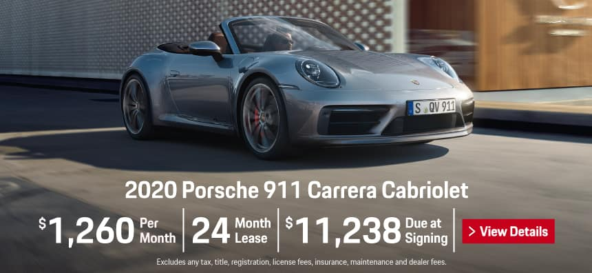 2020 911 Carrera Cabriolet Lease - $1,260 per Month for 24 Months