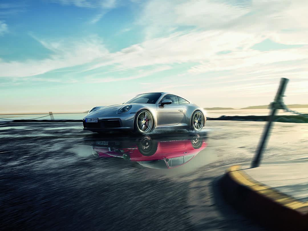 2020 Porsche 911 Carrera S 3/4 Front View reflection