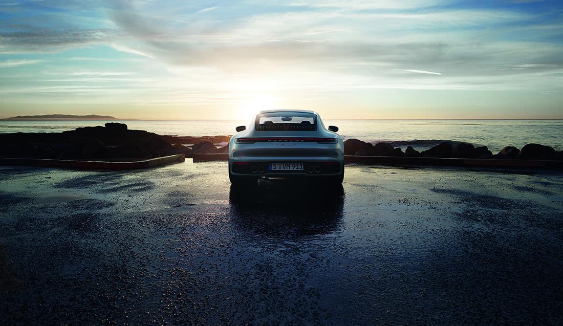 2020 Porsche 911 Carrera S Rear View on water