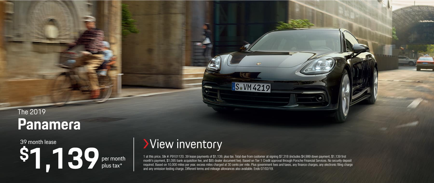 2019 Panamera 39 month lease $1139 per month plus tax