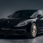 2020 Porsche Panamera backlit in concrete showroom