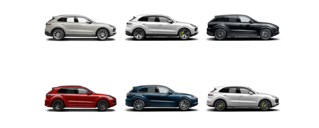 2020 Porsche Cayenne color grid showing six out of twelve total colors