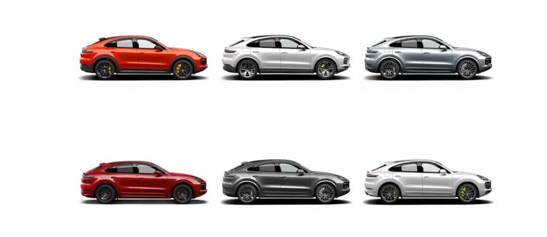 2020 Porsche Cayenne color options grid showing 6 out of twelve total colors