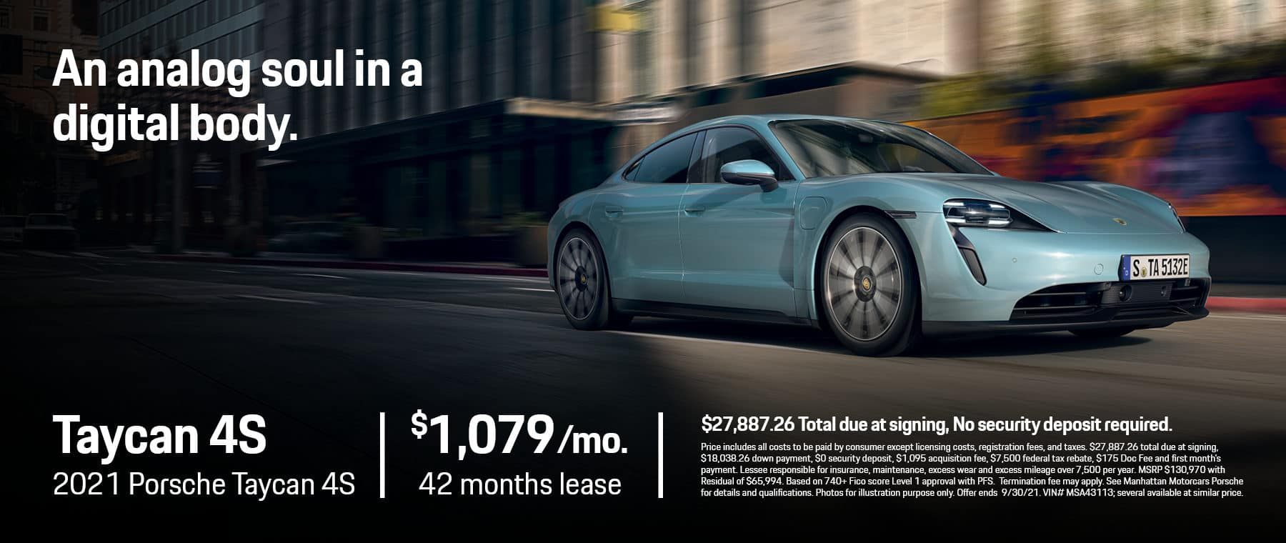 MMC Porsche Lease Specials 1800×760 August 2021 2021 Porsche Taycan 4S