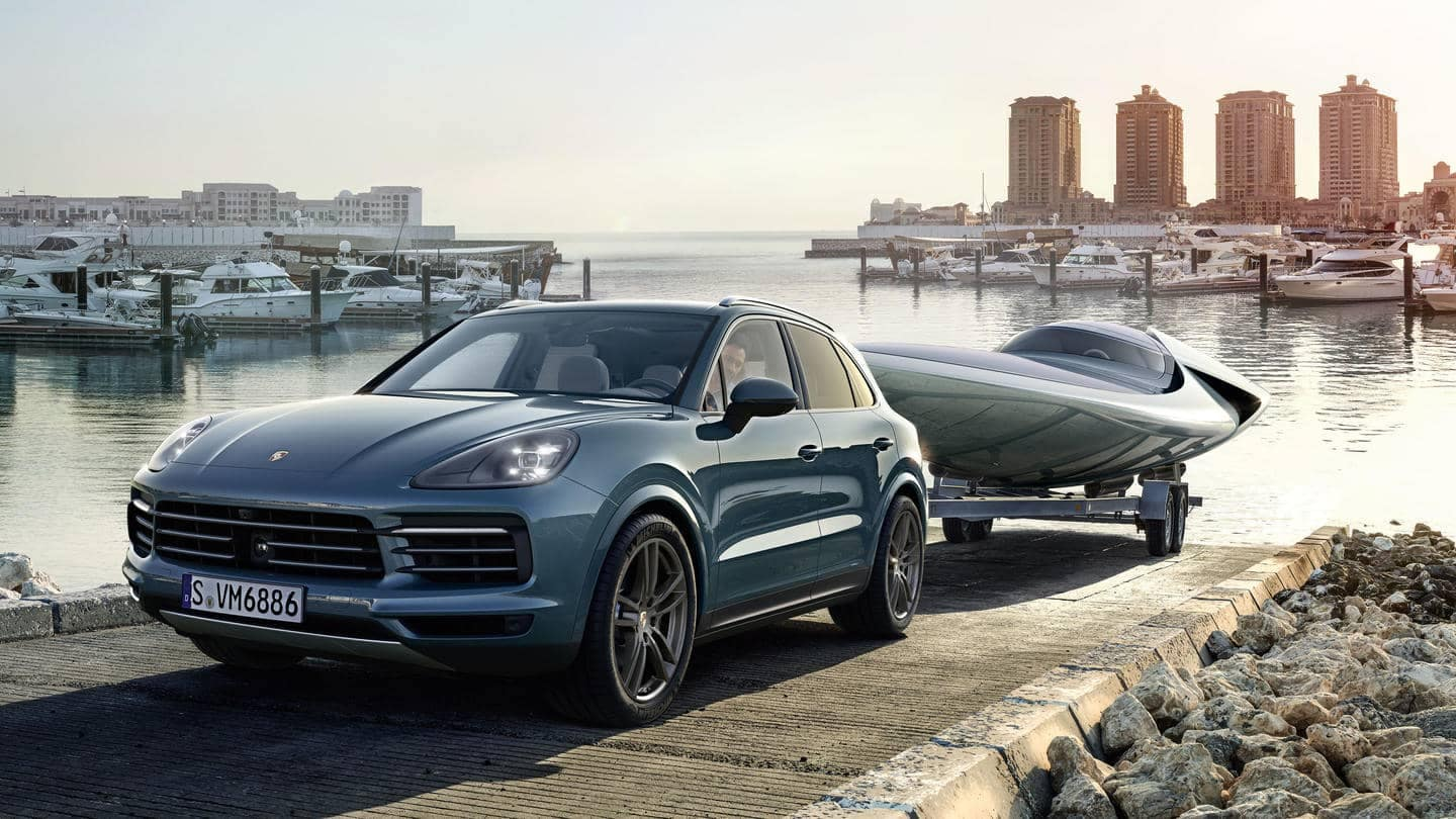 2019 Porsche Cayenne Towing a Boat Out of the Water