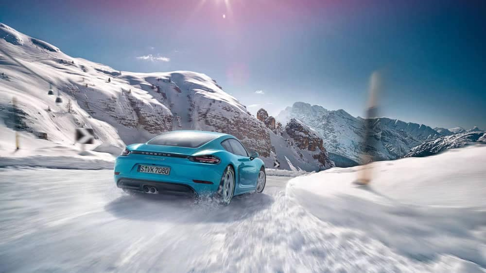 2019 Porsche 718 Cayman in snow