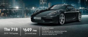 2019 Porsche 718 Cayman lease offer