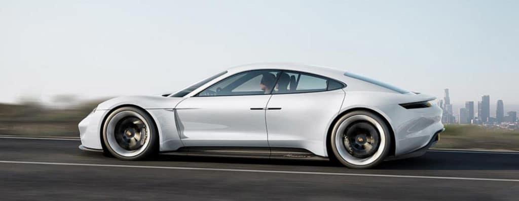 Silver Porsche Taycan Side View