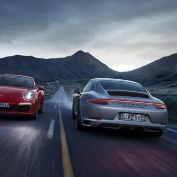 2020 Porsche 911s Passing Each Other