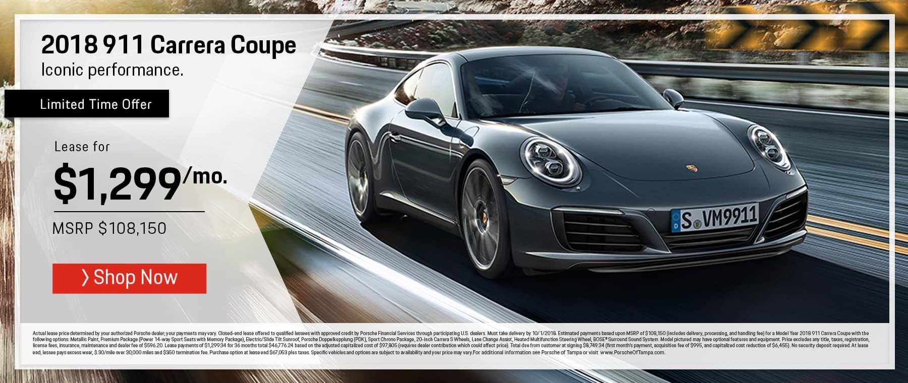2018 Porsche 911 Lease Offer
