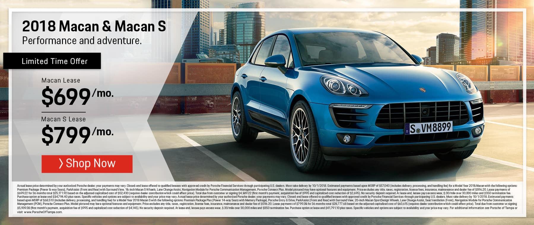 2018 Porsche Macan Lease Special