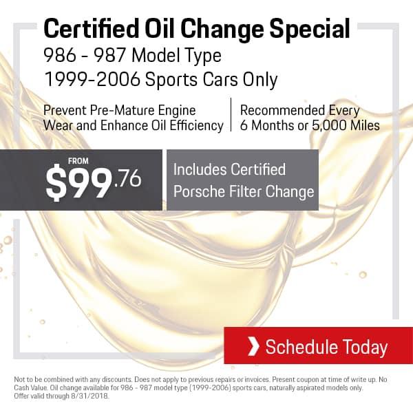 August Porsche OIl Change Special