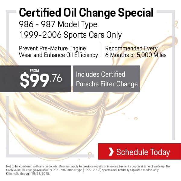 Porsche Oil Change Special