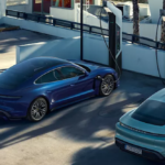 Porsche Taycan models at a charging station