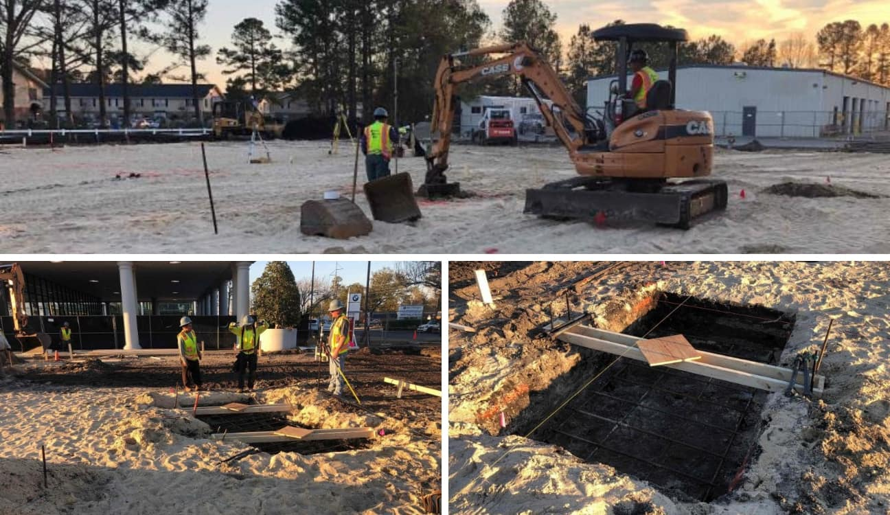 A custom collage of images from the Porsche of Wilmington construction site