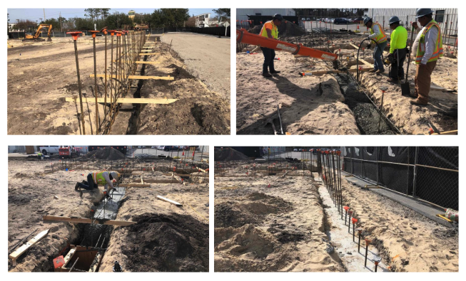 Collage of concrete placement in the excavation
