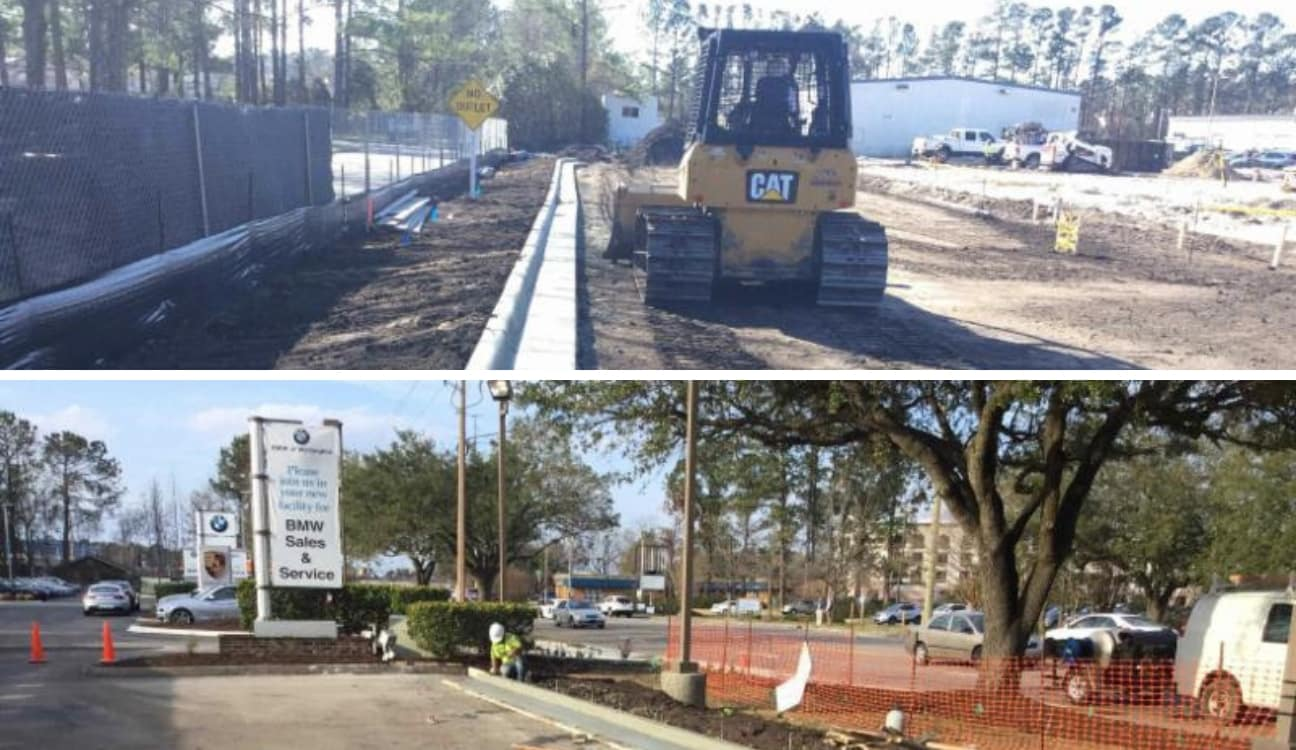 A custom collage of 2 images from the construction site at Porsche of Wilmington