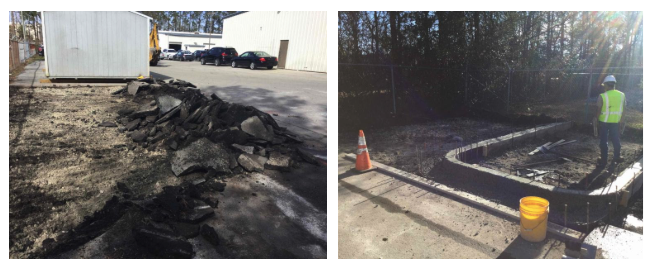 Collage of pavement demo and curbing preparations