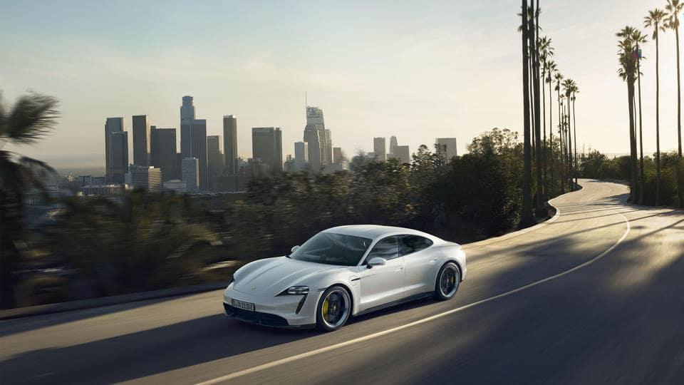 Porsche Taycan on winding road