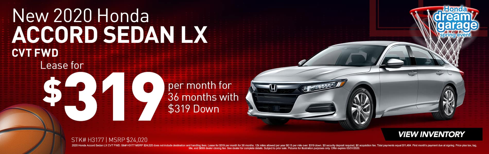 2020 Honda Accord LX   Lease for $319 Per Month