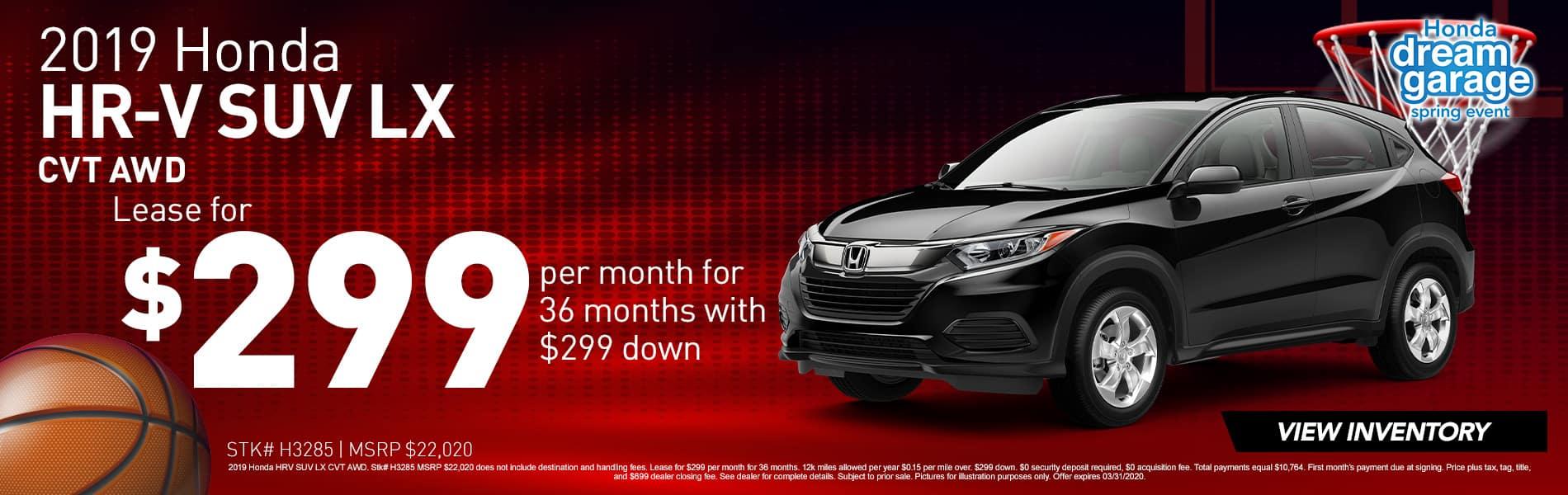 2019 Honda HR-V LX   Lease for $299 Per Month