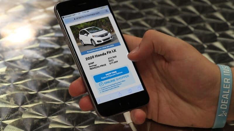 Honda Online Shopper phone screen