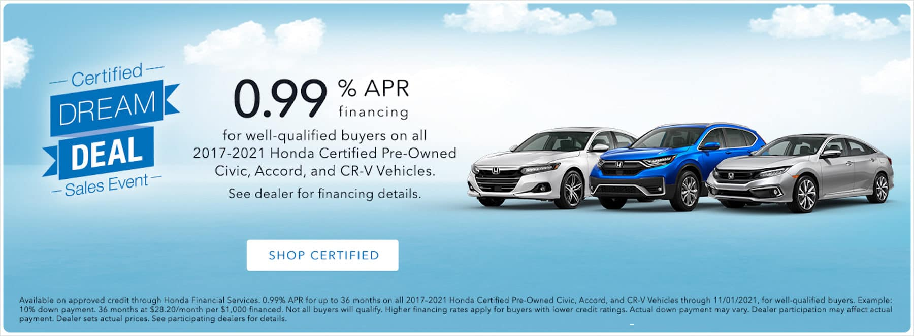 Honda Certified Dream Deal Sales Event