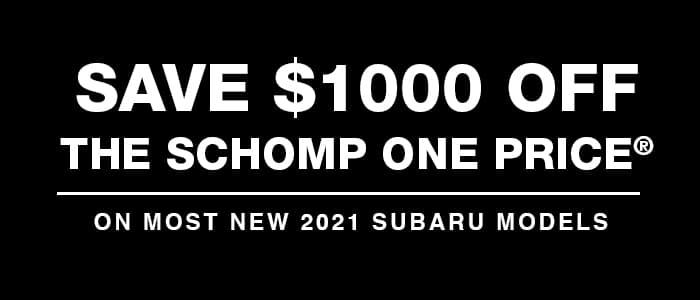 Additional $1,000 off Most New 2021 Subaru Models