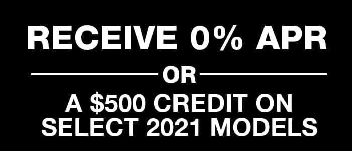 Receive 0% APR OR a $500 credit on New 2021 Crosstrek Models
