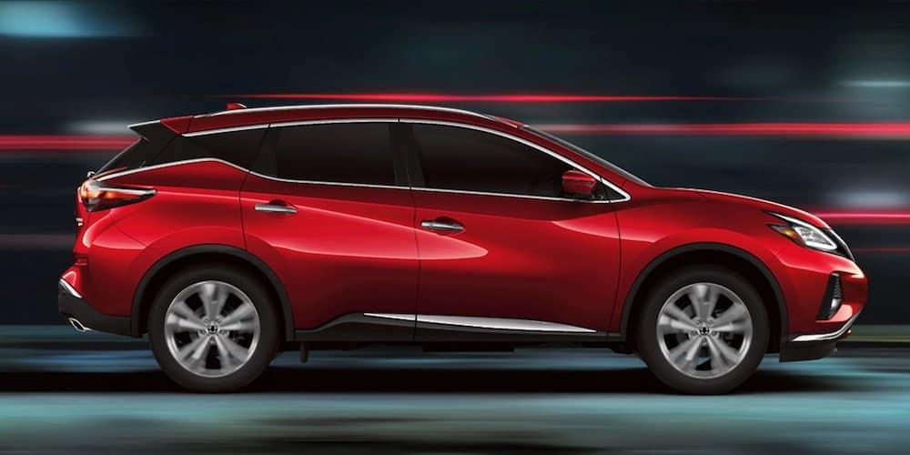 Red 2020 Nissan Murano Driving
