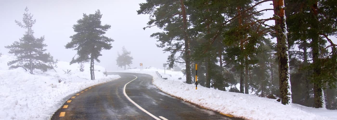 Winding Road and Snow