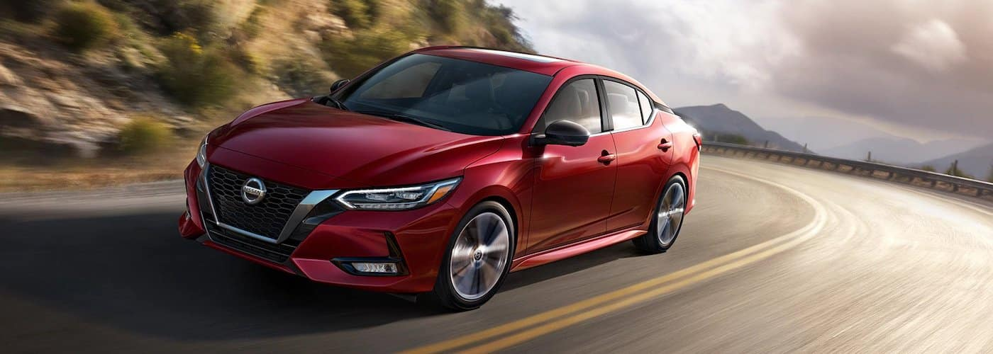 Red 2020 Nissan Sentra on Highway