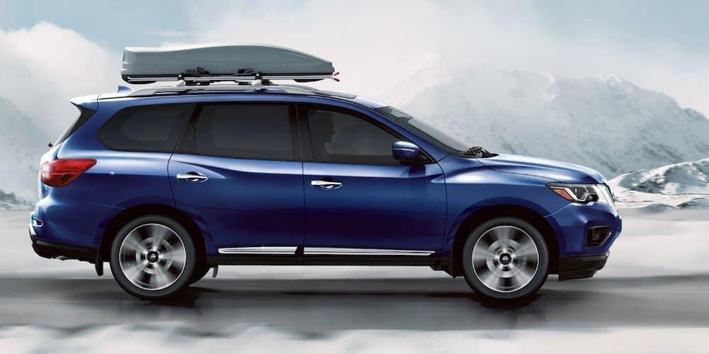 Blue 2020 Nissan Pathfinder on Snowy Road