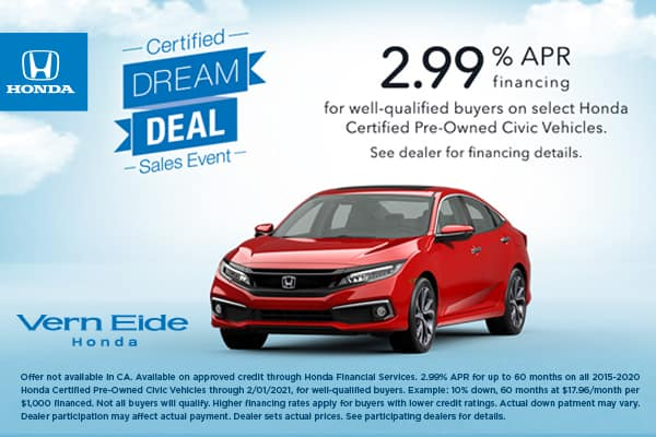 2015-2020 Honda Certified Pre-Owned Civic<br><small>Certified Pre-owned Finance Offer</small>