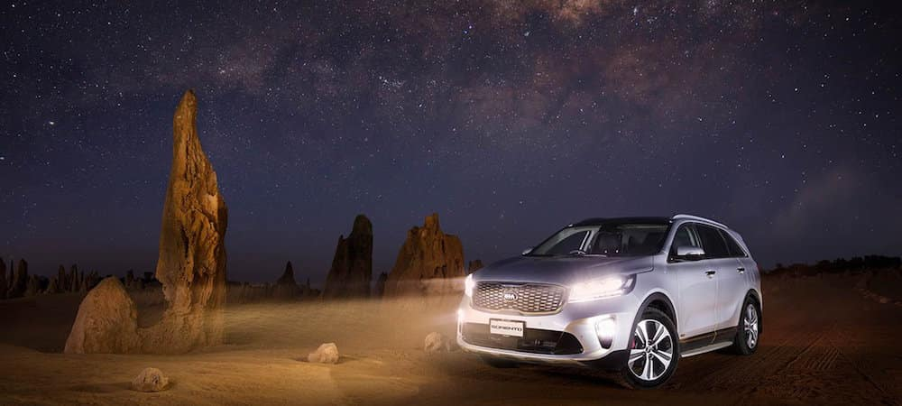 2019 Kia Sorento in the desert at night