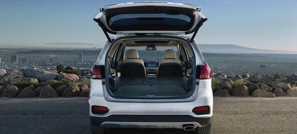 View of 2019 Kia Sorento cargo space with back hatch open