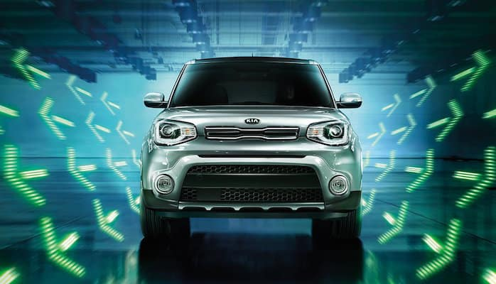 2018 Kia Soul exterior with neon arrow lights around it